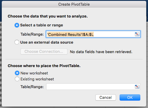 Excel's pop-up modal for creating a pivot table.