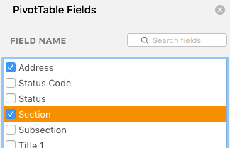Pivot Table Fields modal with both Address and Section selected.